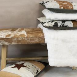 Coussin en cuir patchwork marron 50x50cm - Etoile |YESDEKO