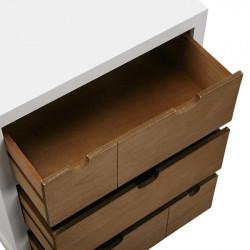 Table de chevet 3 tiroirs blanc et bois naturel - Table de chevet | Yesdeko