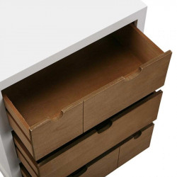 Table de chevet 3 tiroirs blanc et bois naturel |YESDEKO
