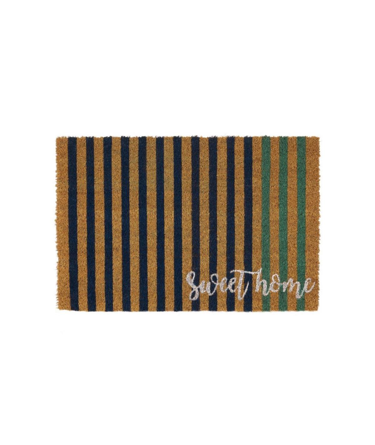 Paillasson coco à rayures bleu 60x40cm - Strip |YESDEKO