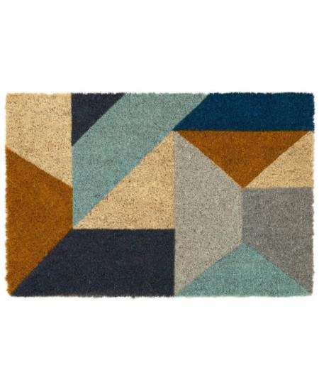 Paillasson coco géométrique 60x40cm - Bleuté | Yesdeko