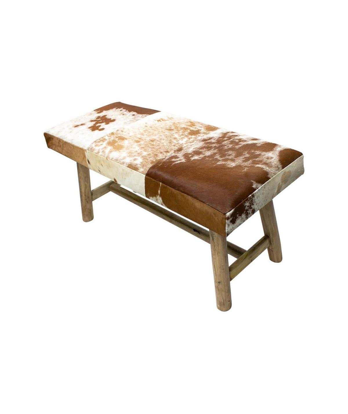 Banquette de salon en cuir rouge brun et bois naturel 95xH45cm | Yesdeko