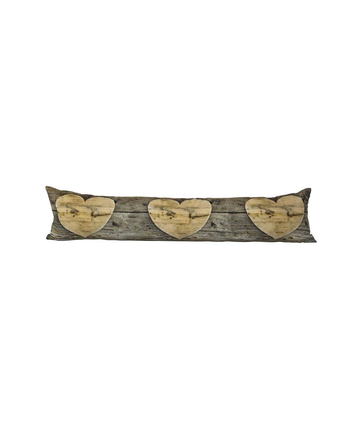 Boudin de porte en coton motif bois 90x20cm - Coeur |YESDEKO