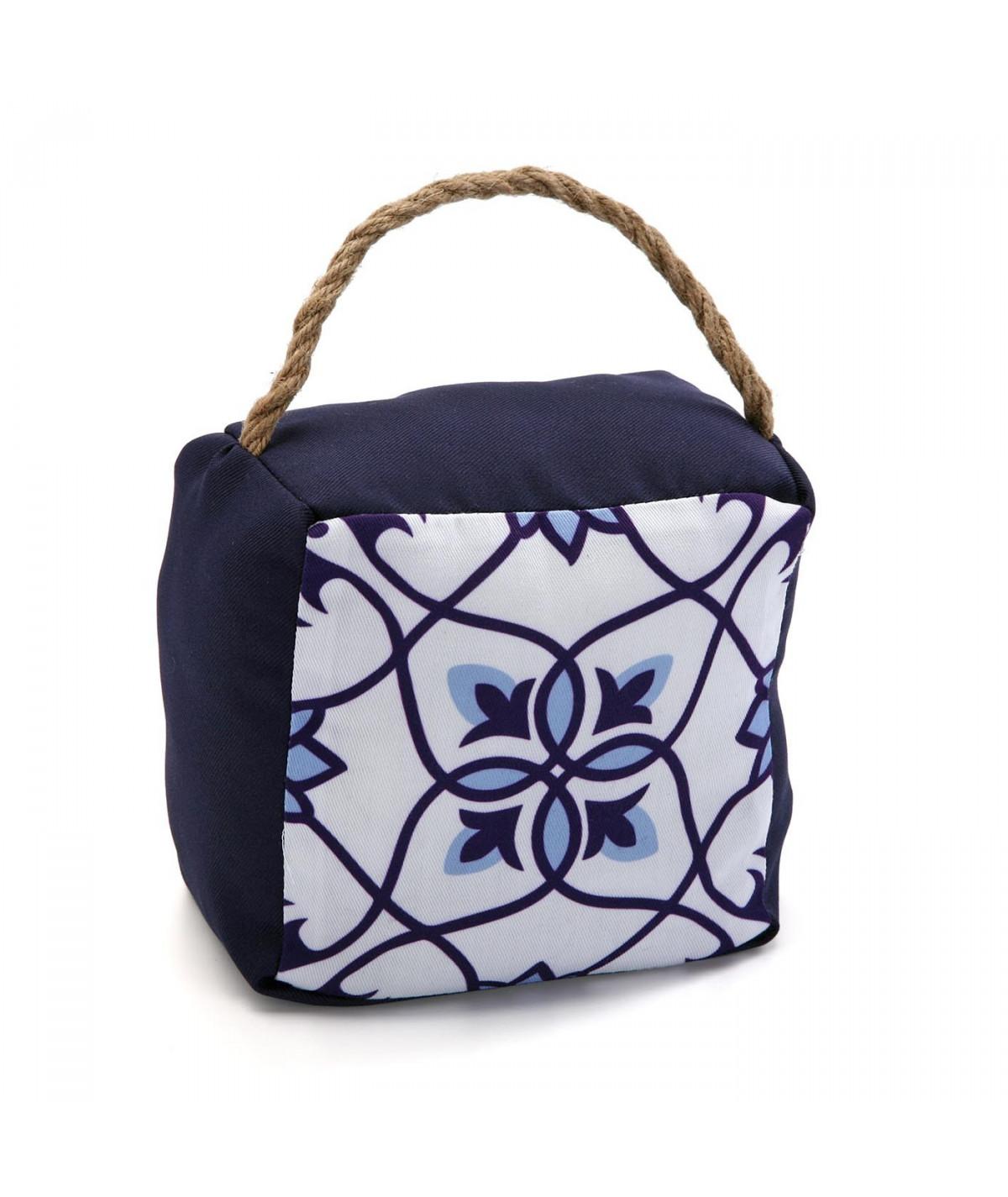 Bloc porte mosaique bleu avec anse - Aquarelle - Boudin - Bloc porte|Yesdeko