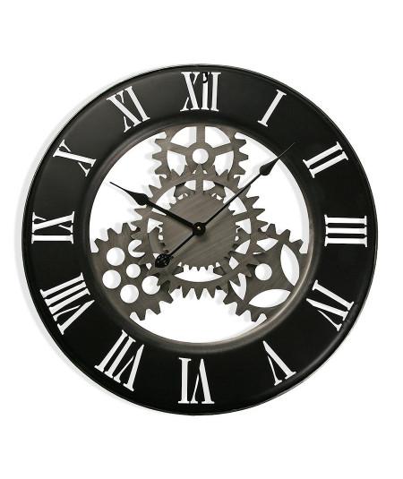 Horloge murale métal noir, style industriel Diam63 cm Kylie - Horloge murale|Yesdeko