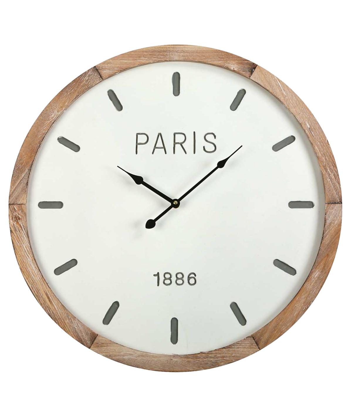 Horloge murale bois style scandinave Diam60cm - Horloge murale | Yesdeko