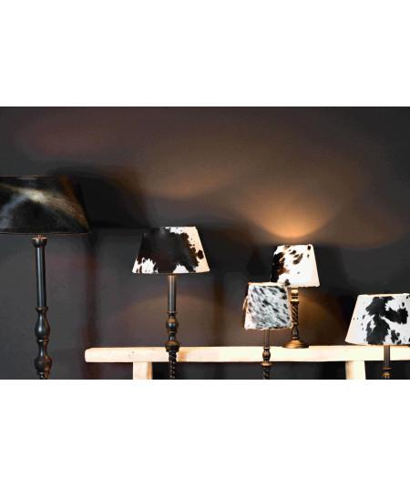 Abat jour en peau de vache conique diam30cm noir et ivoire - Maya  YESDEKO