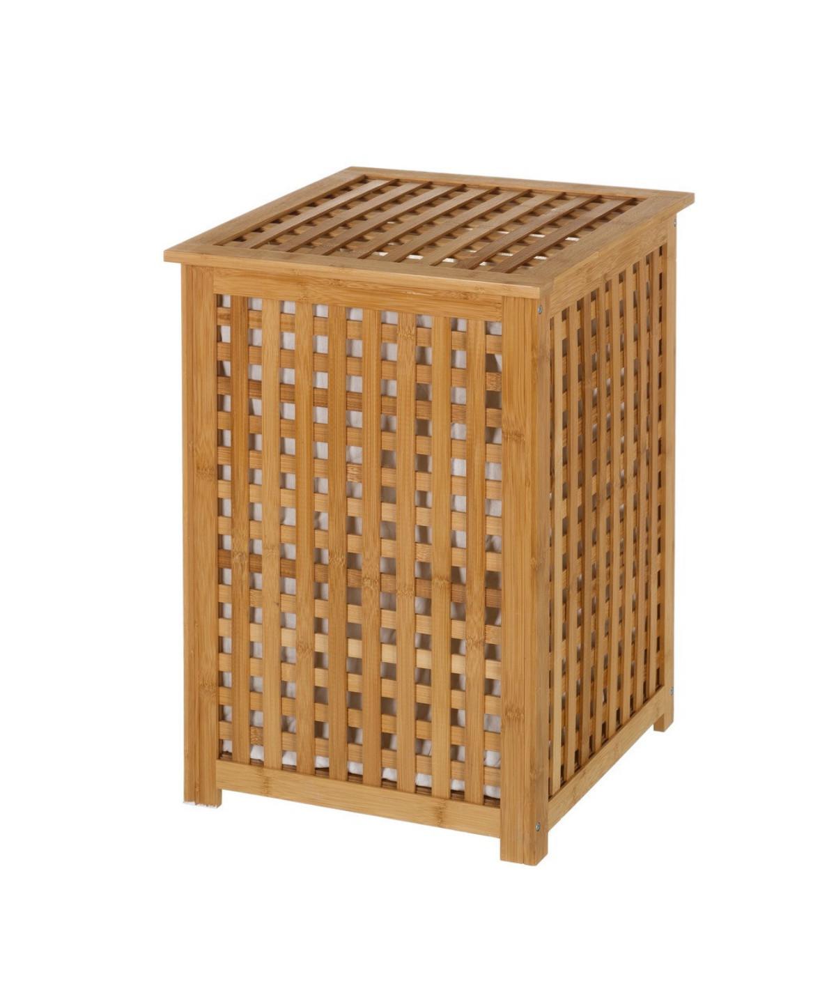 Corbeille à linge en bambou quadrillé avec couvercle - Panier à linge | Yesdeko
