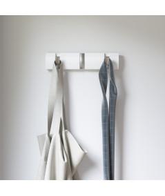 Porte manteau en bois mural avec 3 crochets rétractables blanc - Flip |YESDEKO