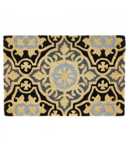 Paillasson coco motif mosaique gris bleu 60x40cm   Yesdeko
