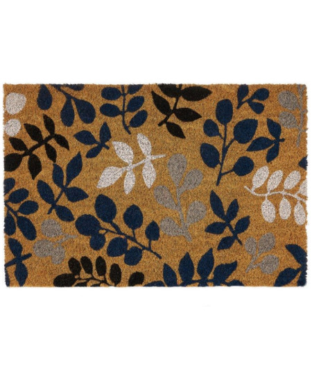 Paillasson coco motif floral bleu et gris 60x40cm | Yesdeko
