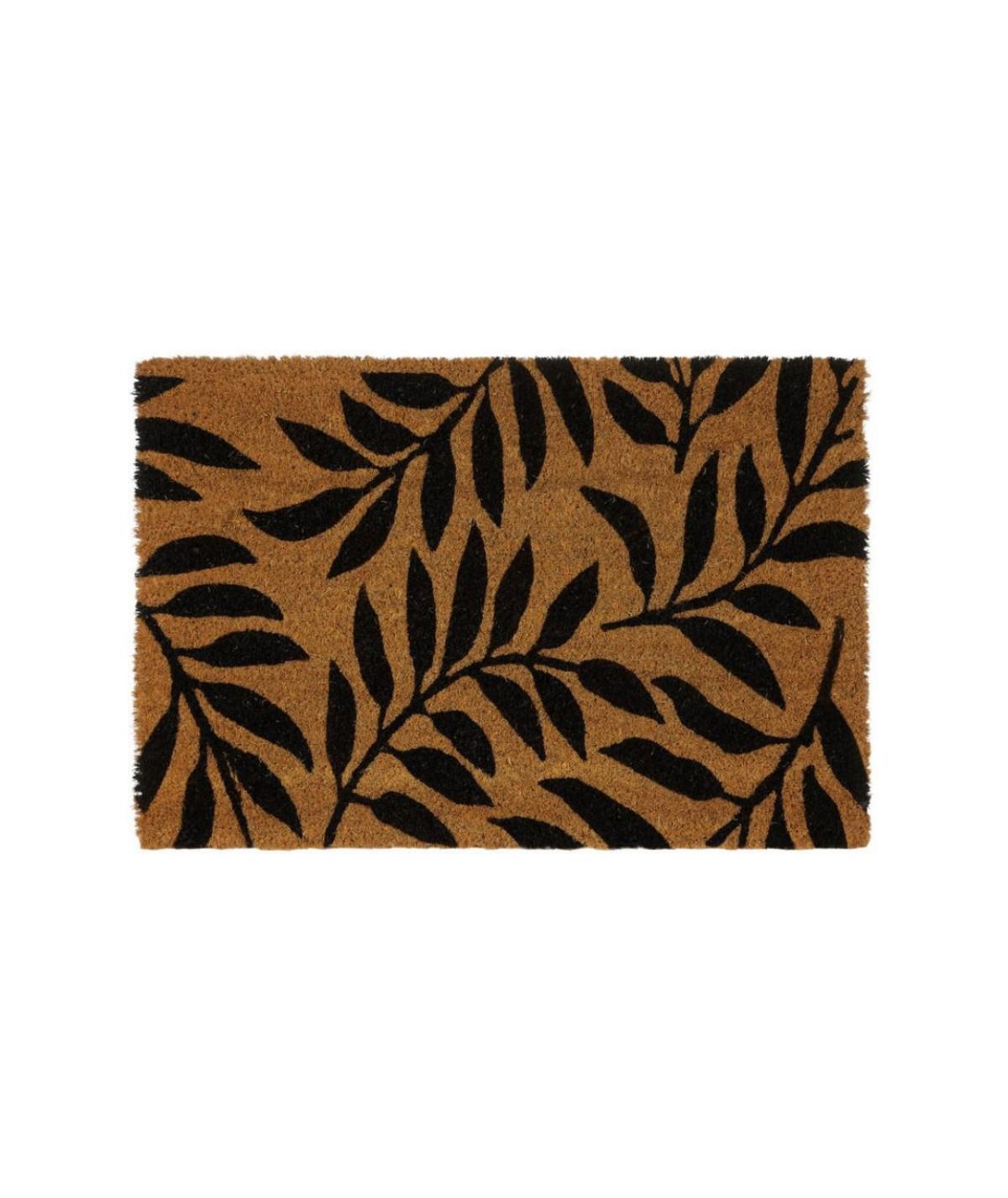 Paillasson coco motif floral 60x40cm - Black   Yesdeko