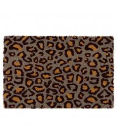 Paillasson coco à motif léopard taupe 60x40cm | Yesdeko