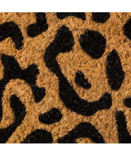 Paillasson coco motif léopard noir 60x40cm | Yesdeko