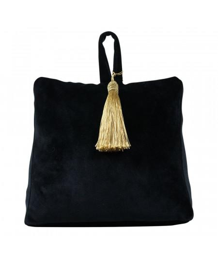 Butoir de porte en velours noir et pompon doré 17x10xH18cm - Collecion Uni | Yesdeko