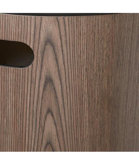Tabouret en bois avec rangement, couleur noyer et couvercle noir H40cm - Woodrow | Yesdeko