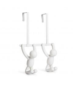 Patère de porte 2 crochets métal et plastique blanc - Collection Buddy Hook - Umbra   Yesdeko