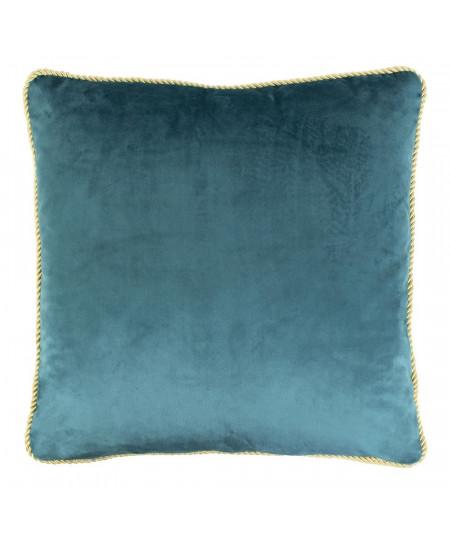 Coussin en velours bleu 45x45cm galon doré - Velvet Pétrol | Yesdeko