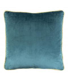 Coussin en velours bleu 45x45cm galon doré - Velvet Pétrol   Yesdeko