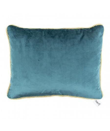 Coussin en velours bleu 35x45cm galon doré - Collection Velvet | Yesdeko
