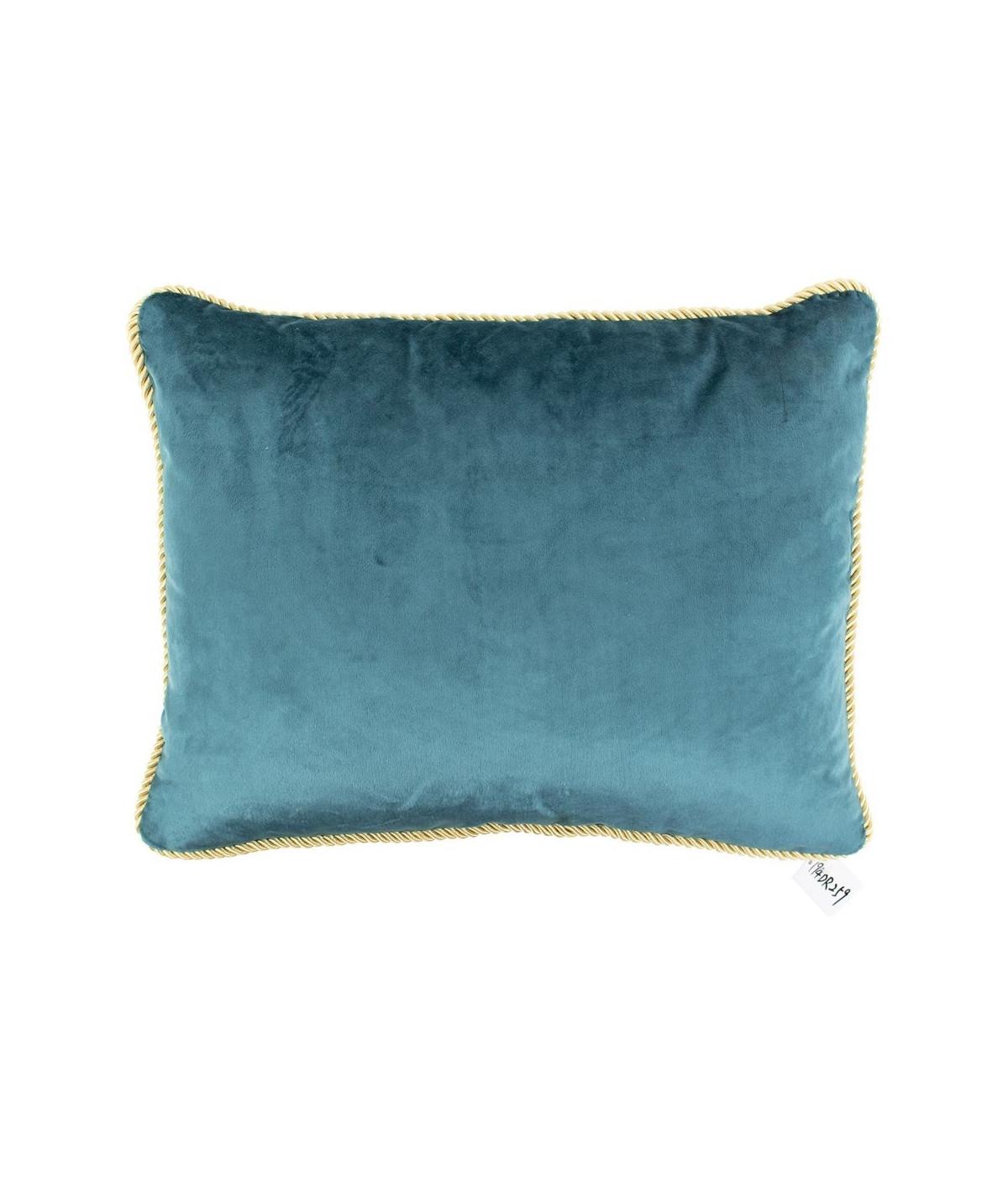 Coussin en velours bleu 35x45cm galon doré - Collection Velvet   Yesdeko