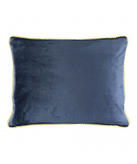 Coussin en velours bleu marine 35x45cm galon doré - Collection Velvet | Yesdeko