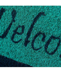 Paillasson en coco motif plage 60x40cm - Welcome turquoise   Yesdeko