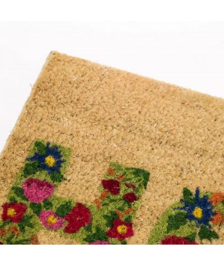 Paillasson en coco motif fleuri 60x40cm - Home   Yesdeko