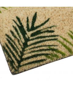 Paillasson en coco motif feuille 60x40cm - Jungle   Yesdeko