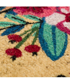 Paillasson en coco motif fleuri 60x40cm - Spring   Yesdeko