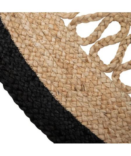 Tapis jute rond noir et beige Diam120cm - Romane  YESDEKO