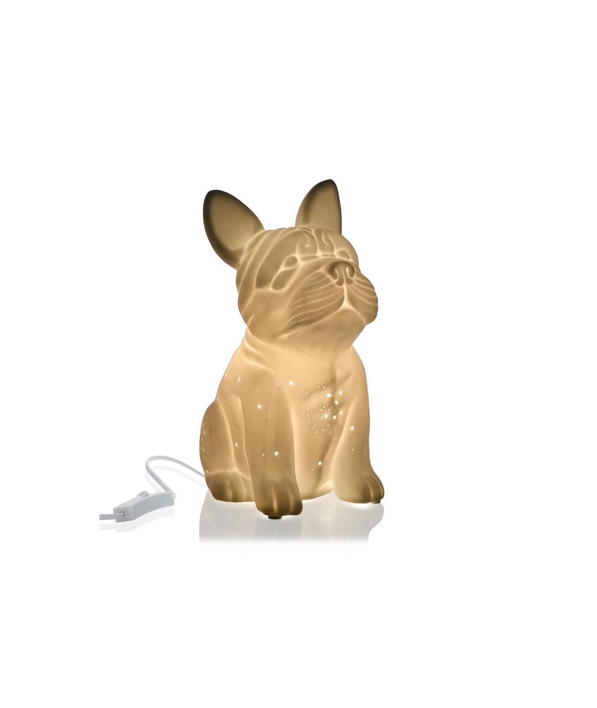 Lampe en céramique blanche, en forme de Bulldog  YESDEKO