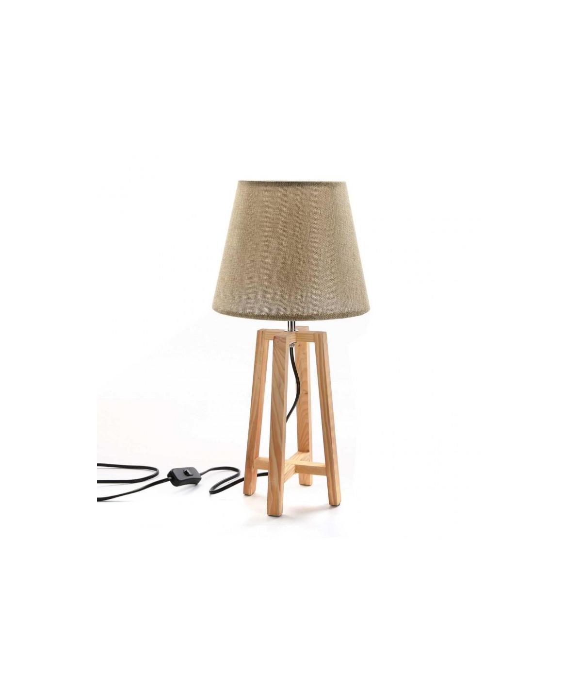 Lampe sur trépied en bois H48cm - Scandi   Yesdeko