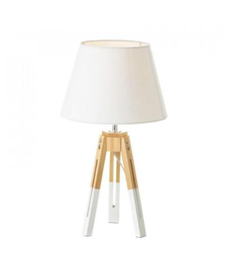 Lampe à poser sur trépied blanc et bois H44cm |YESDEKO