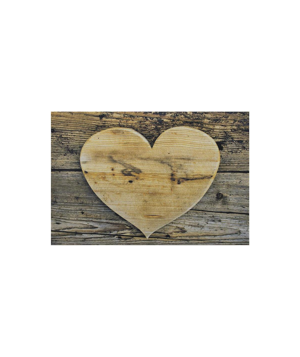 Tapis cuisine lavable 75x50cm - Coeur en bois |YESDEKO