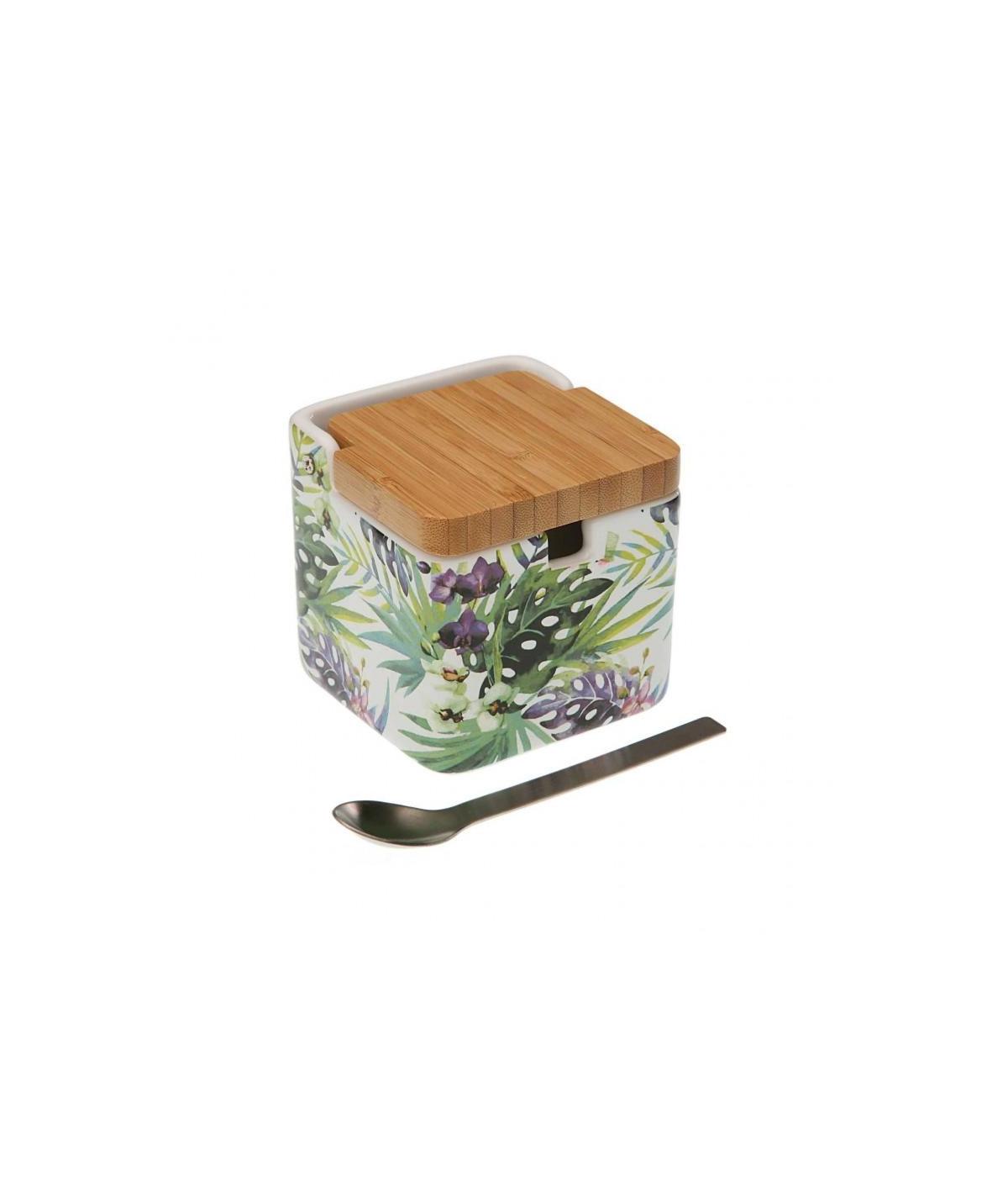 Sucrier en céramique, et sa cuillère en métal - Tropical  YESDEKO