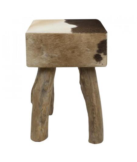 Tabouret carré en cuir brun foncé  YESDEKO