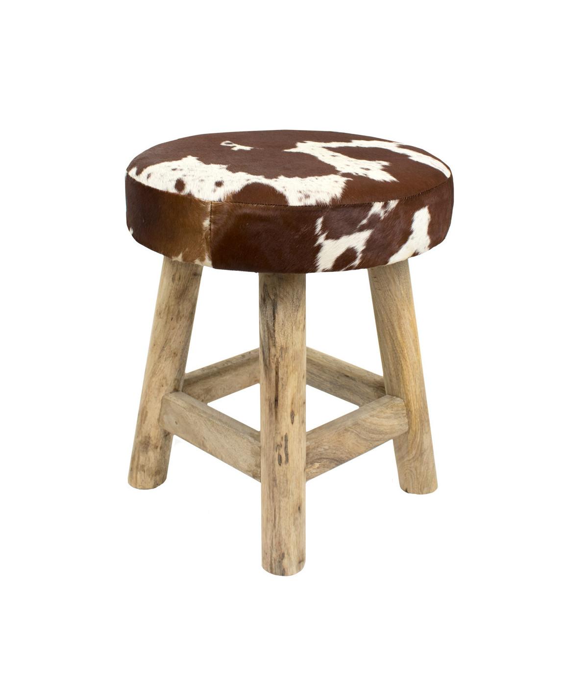 Tabouret rond en bois et peau naturelle 40xH45cm | Yesdeko