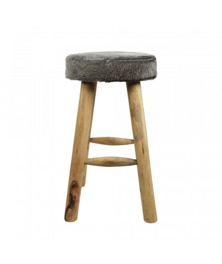 Tabouret en bois et peau naturelle gris 35xH65cm - Tabouret de bar | Yesdeko