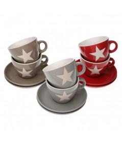 Tasse à café avec soucoupe (Lot de 6) - Star  YESDEKO