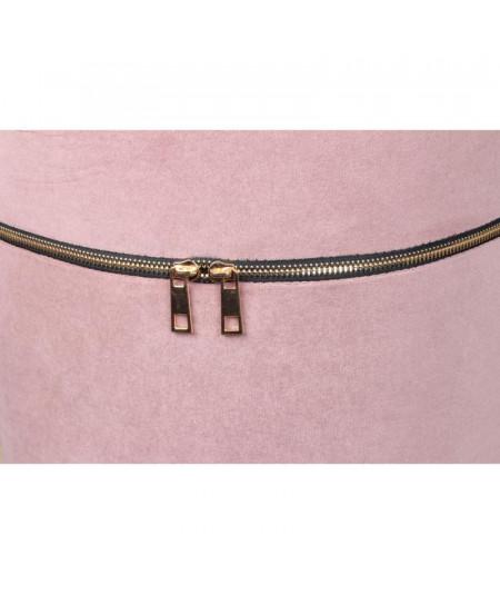 Pouf rond en velours rose poudré Diam41cm - Zip - Outlet