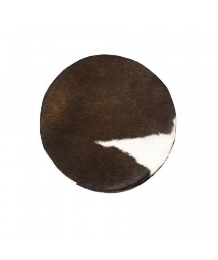 Tabouret rond en peau naturelle brun Diam30cm   Yesdeko