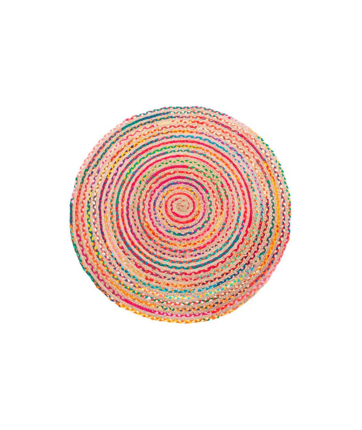 Tapis jute rond multicolore Diam120cm - Rosace |YESDEKO