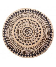 Tapis jute rond beige et noir double face Diam120cm - Mandala  YESDEKO