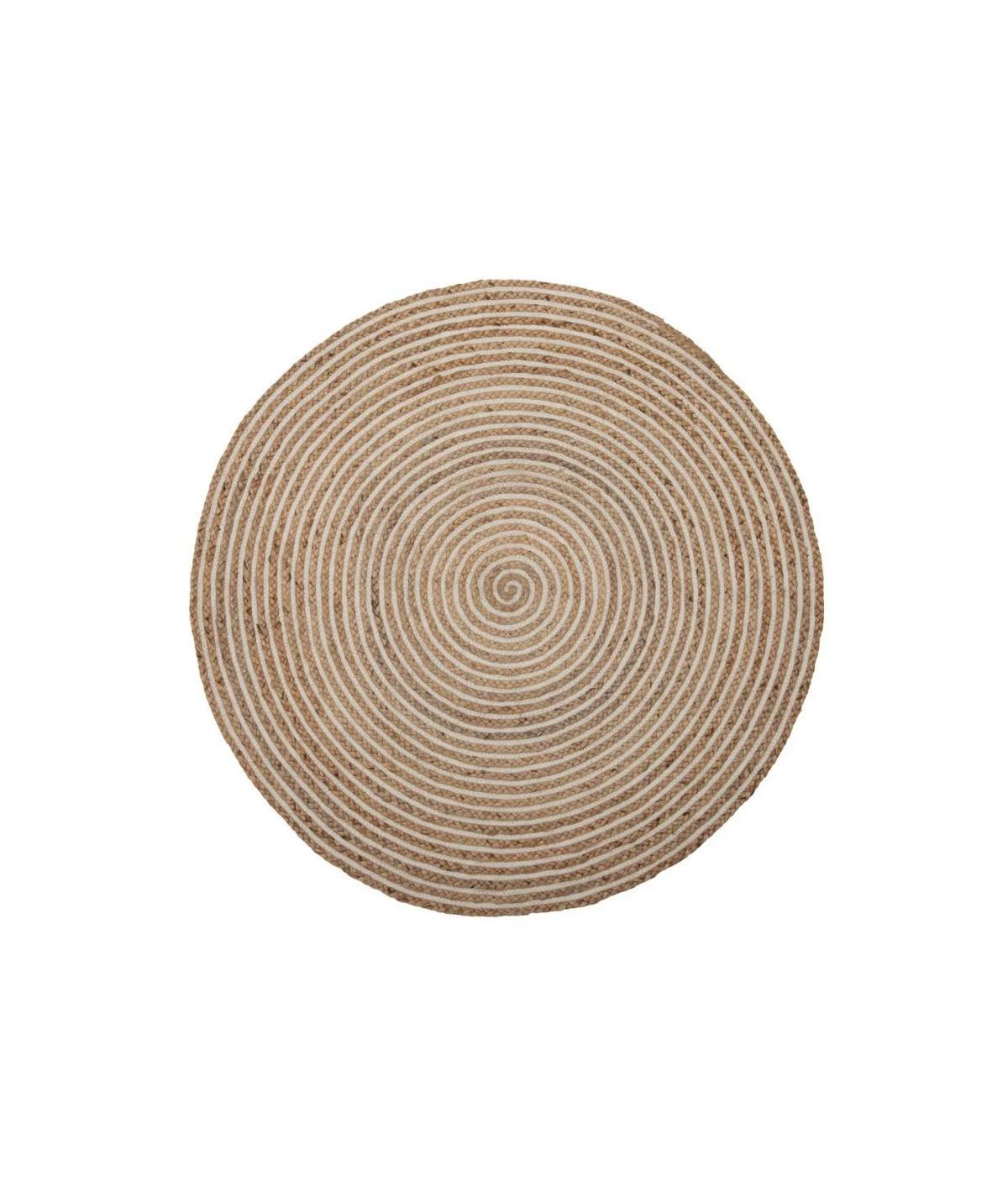 Tapis jute et coton rond beige Diam120cm - Mavina  YESDEKO