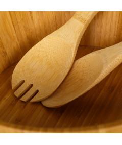 Saladier rond en bambou + 2 couverts | Yesdeko