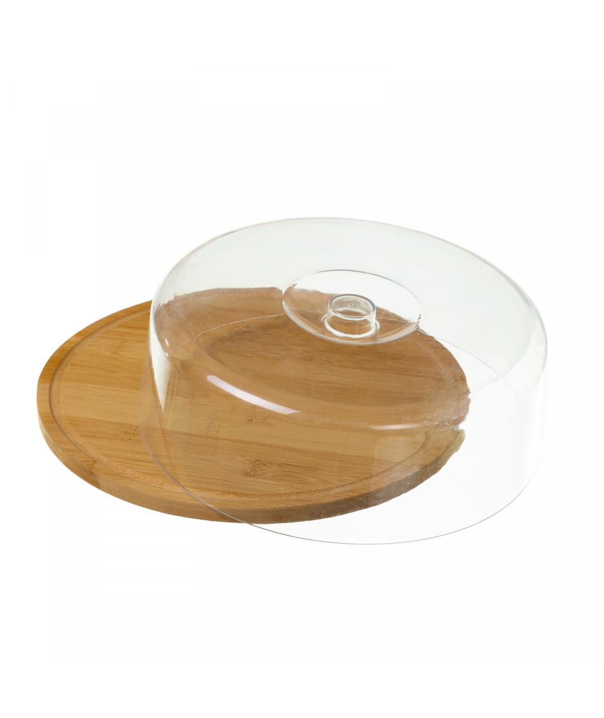 Plateau à fromage en bambou avec cloche - Plat en bambou | Yesdeko