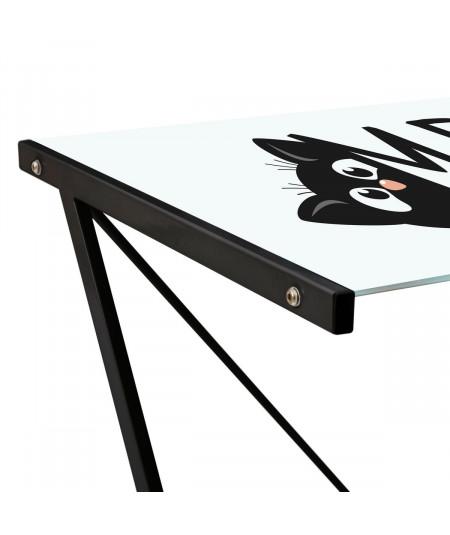 Bureau en verre, pied en métal noir - Meow |YESDEKO