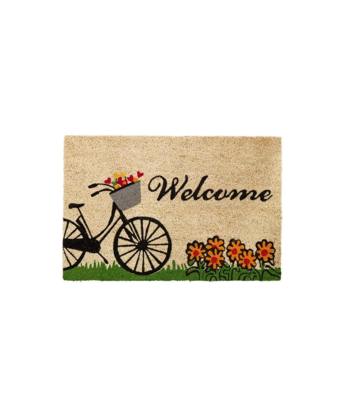 Paillasson en coco vélo fleuri 60x40cm - Welcome   Yesdeko