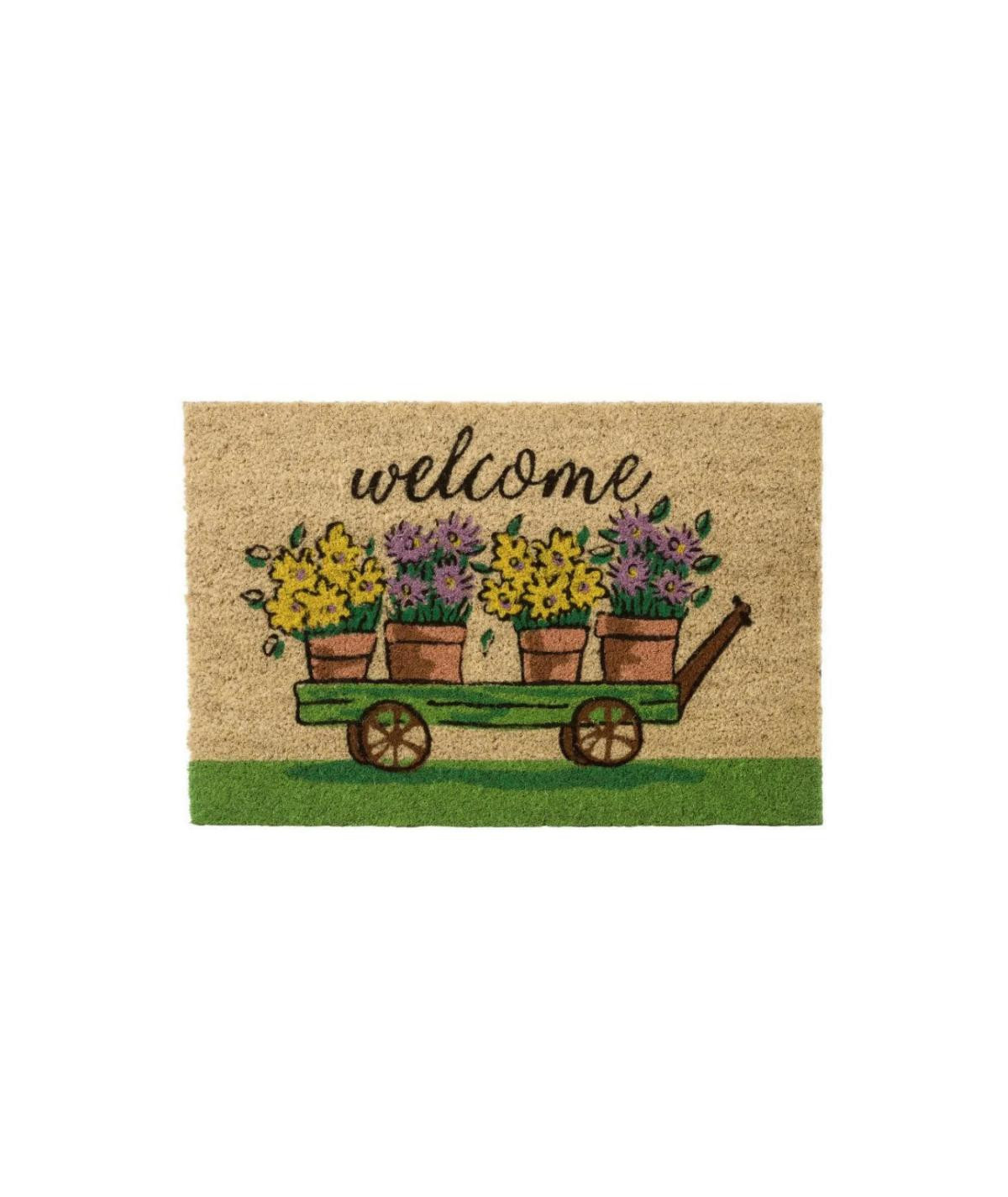 Paillasson coco style jardin 60x40cm - Garden Welcome | Yesdeko